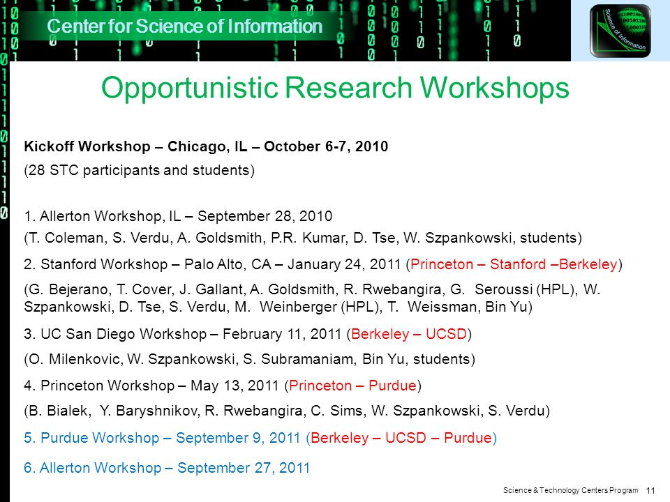 Science & Technology Centers Program 11 Opportunistic Research Workshops Kickoff Workshop – Chicago, IL – October 6-7, 2010 (28 STC participants and students) 1.