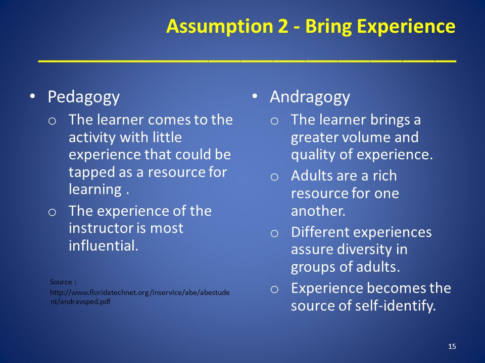 Assumption 2 - Bring Experience _______________________________________ Pedagogy o The learner comes to the activity with little experience that could be tapped as a resource for learning.