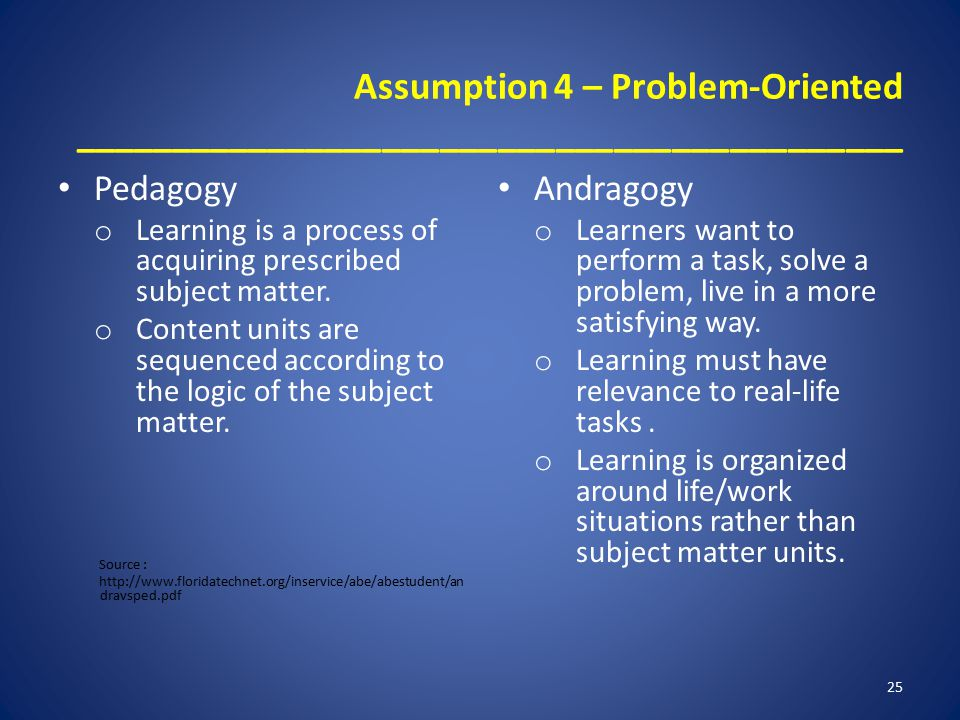 Assumption 4 – Problem-Oriented ___________________________________________ Pedagogy o Learning is a process of acquiring prescribed subject matter.