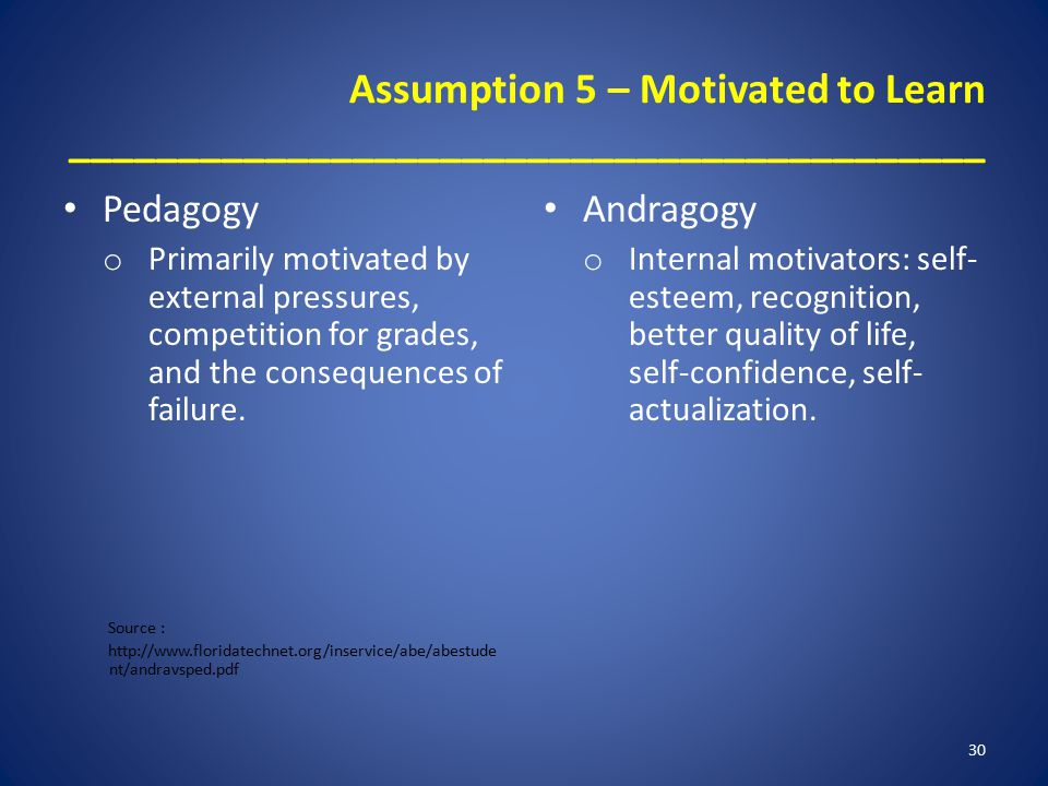 Assumption 5 – Motivated to Learn __________________________________________ Pedagogy o Primarily motivated by external pressures, competition for grades, and the consequences of failure.