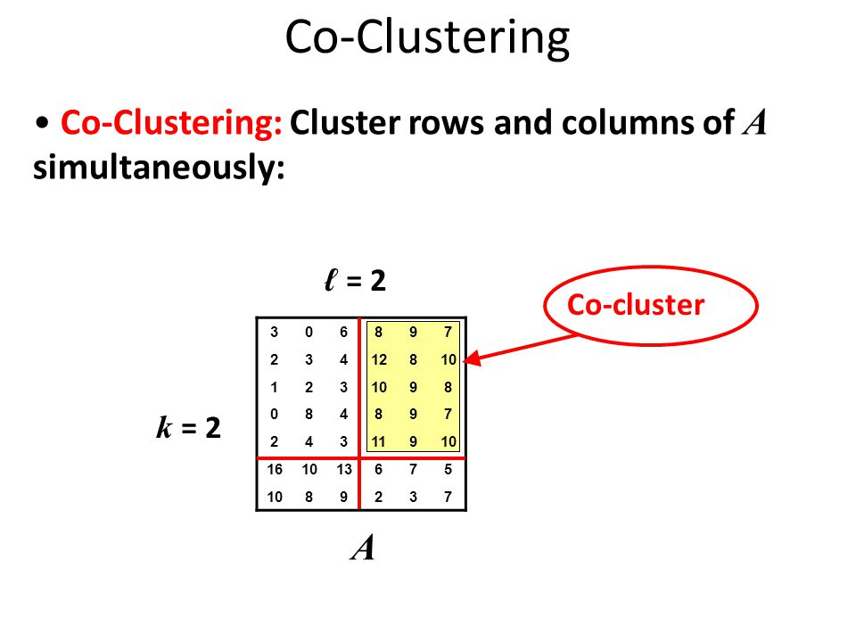 Co-Clustering 306897 23412810 123 98 084897 24311910 161013675 1089237 A Co-Clustering: Cluster rows and columns of A simultaneously: k = 2 ℓ = 2 Co-cluster