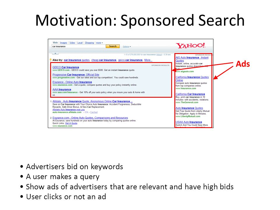 Motivation: Sponsored Search Main revenue for search engines Advertisers bid on keywords A user makes a query Show ads of advertisers that are relevant and have high bids User clicks or not an ad Ads