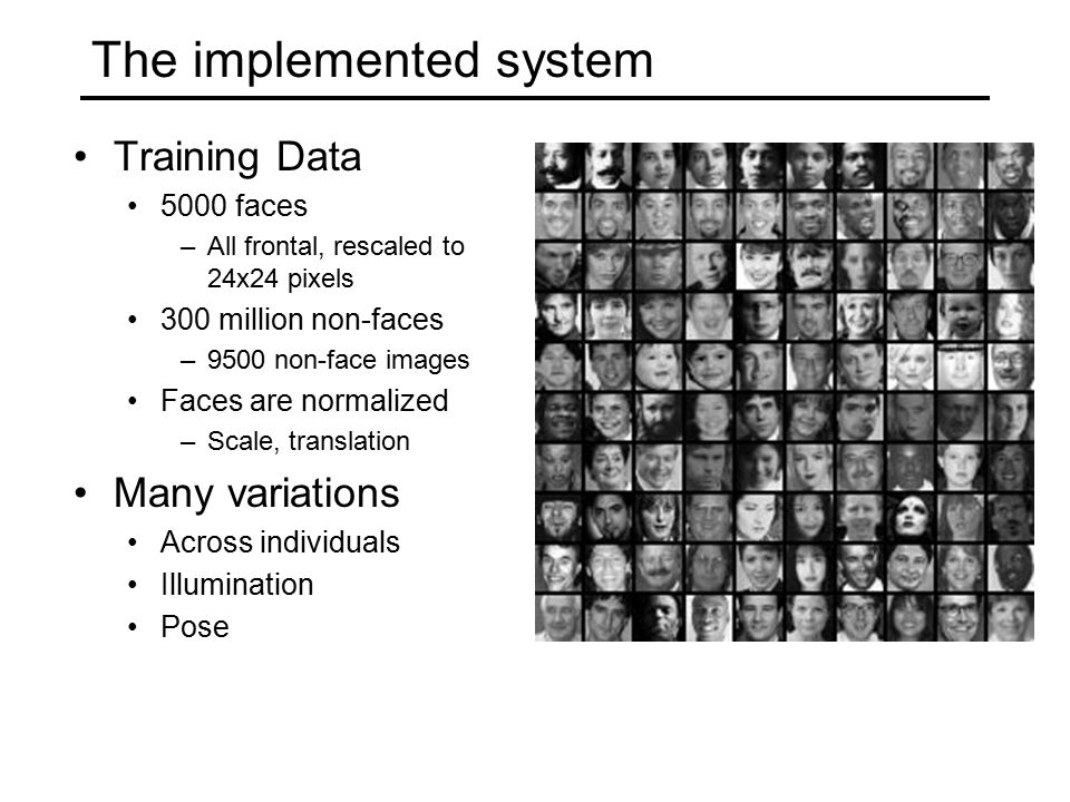 The implemented system Training Data 5000 faces –All frontal, rescaled to 24x24 pixels 300 million non-faces –9500 non-face images Faces are normalized –Scale, translation Many variations Across individuals Illumination Pose