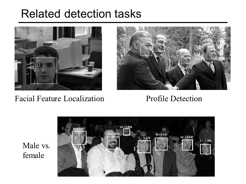 Related detection tasks Facial Feature Localization Male vs. female Profile Detection