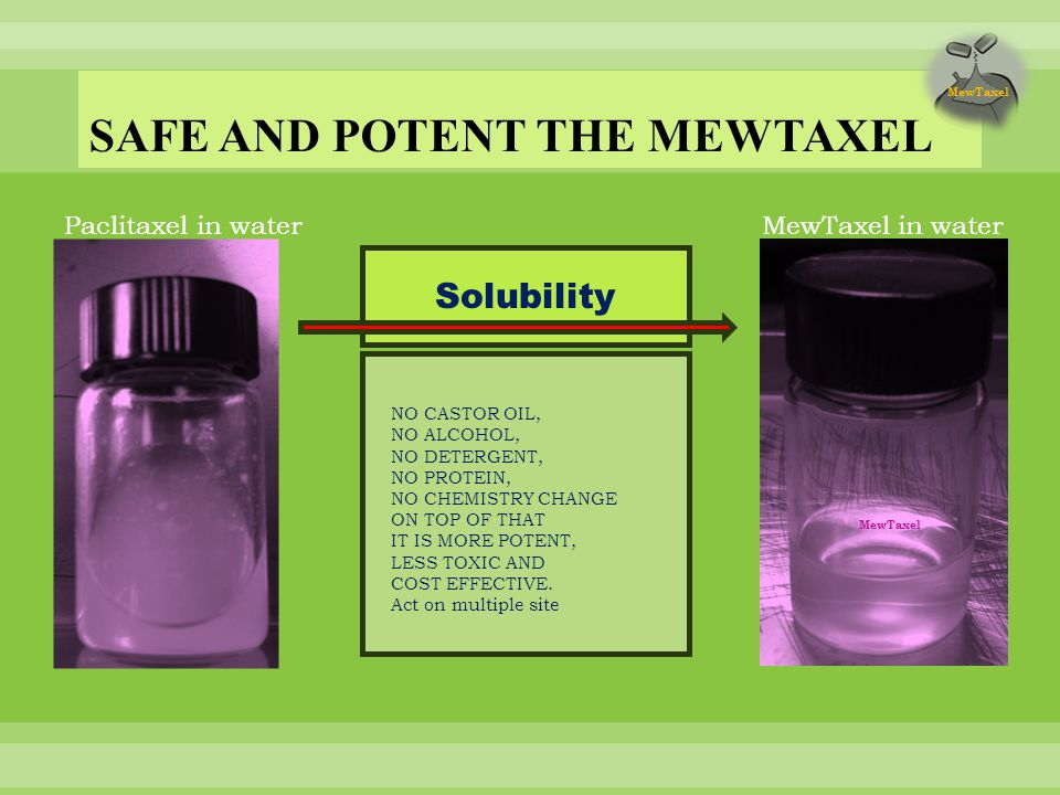 Paclitaxel in waterMewTaxel in water Solubility NO CASTOR OIL, NO ALCOHOL, NO DETERGENT, NO PROTEIN, NO CHEMISTRY CHANGE ON TOP OF THAT IT IS MORE POTENT, LESS TOXIC AND COST EFFECTIVE.