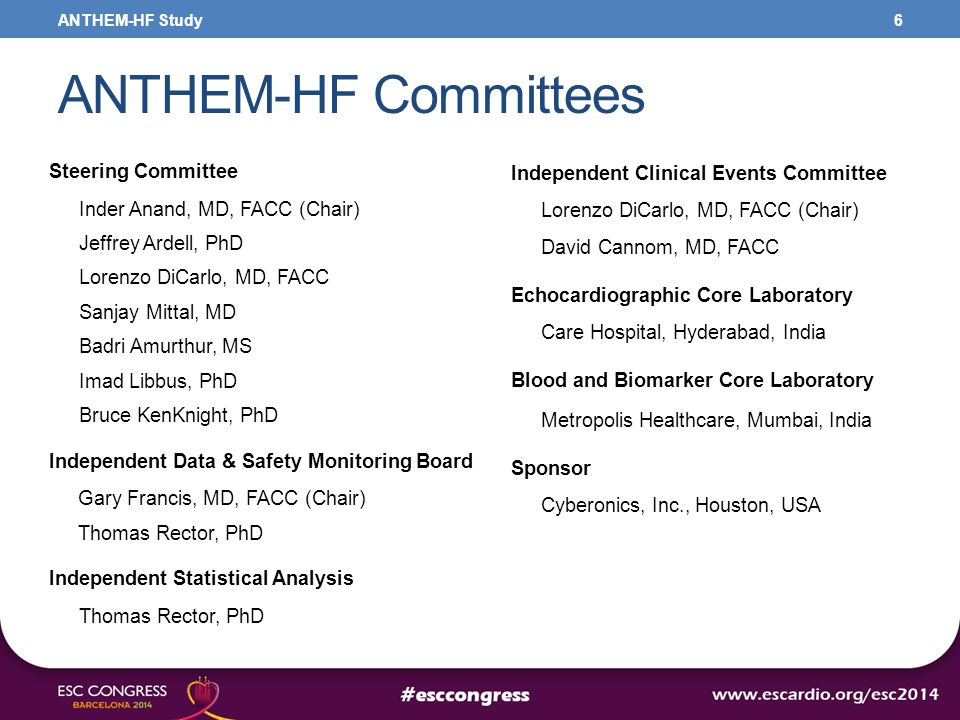 Independent Clinical Events Committee Lorenzo DiCarlo, MD, FACC (Chair) David Cannom, MD, FACC Echocardiographic Core Laboratory Care Hospital, Hydera