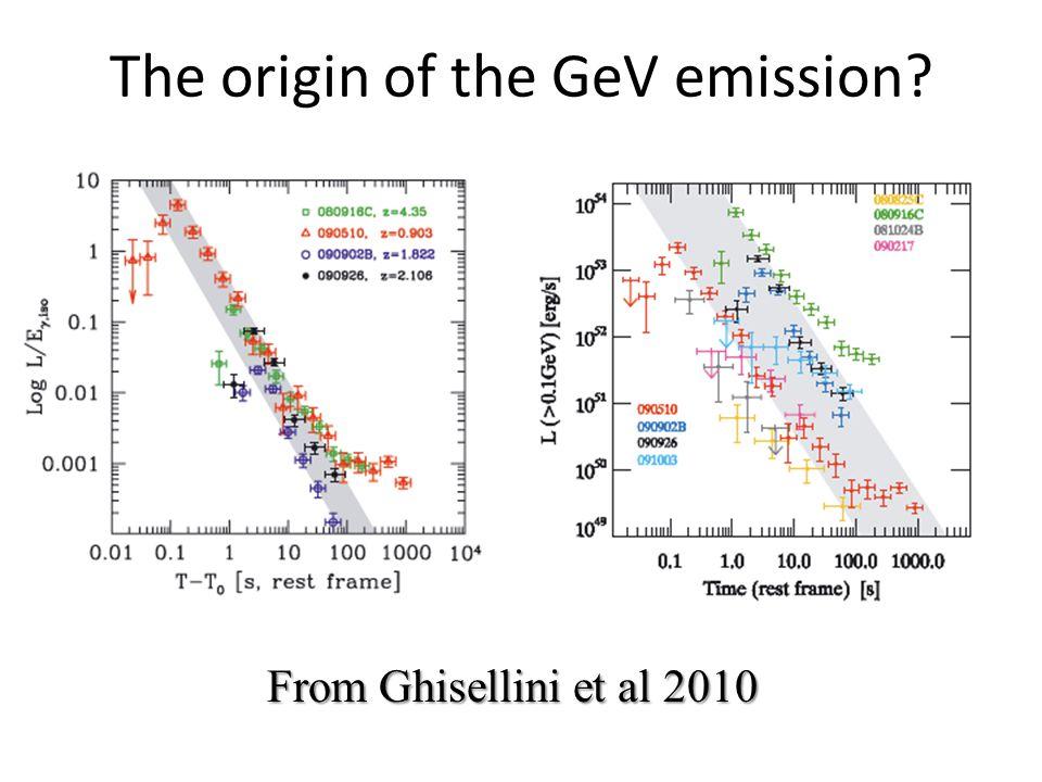 The origin of the GeV emission From Ghisellini et al 2010