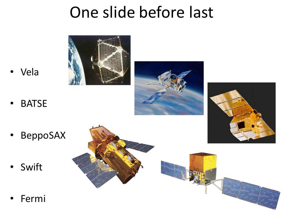 One slide before last Vela BATSE BeppoSAX Swift Fermi