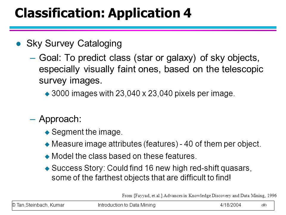 © Tan,Steinbach, Kumar Introduction to Data Mining 4/18/2004 15 Classification: Application 4 l Sky Survey Cataloging –Goal: To predict class (star or galaxy) of sky objects, especially visually faint ones, based on the telescopic survey images.