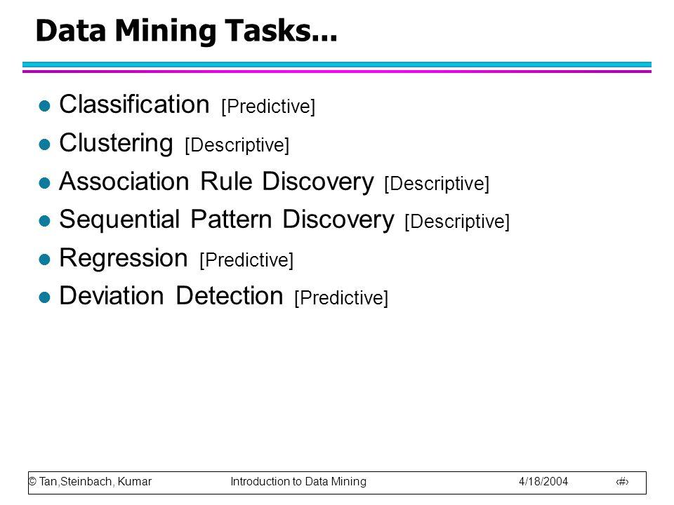 © Tan,Steinbach, Kumar Introduction to Data Mining 4/18/2004 9 Data Mining Tasks... l Classification [Predictive] l Clustering [Descriptive] l Associa