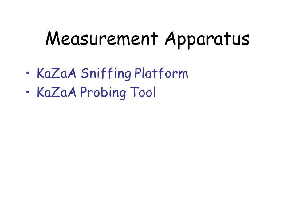 Measurement Apparatus KaZaA Sniffing Platform KaZaA Probing Tool