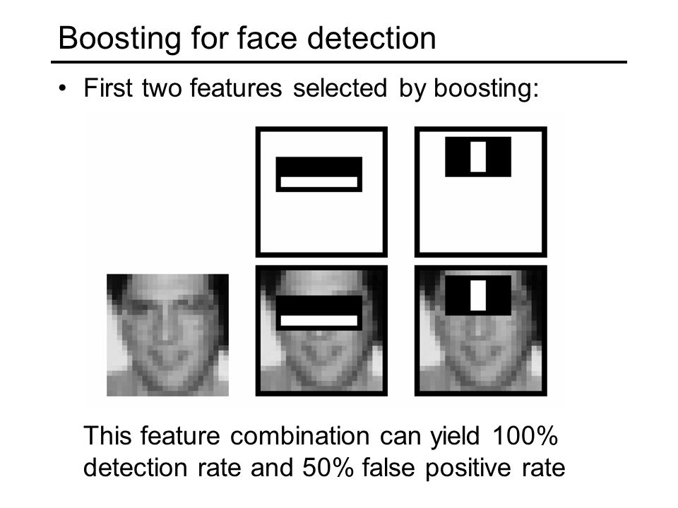 Boosting for face detection First two features selected by boosting: This feature combination can yield 100% detection rate and 50% false positive rate