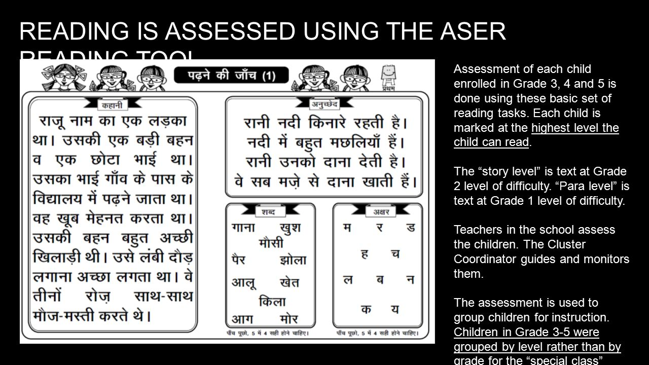READING IS ASSESSED USING THE ASER READING TOOL Assessment of each child enrolled in Grade 3, 4 and 5 is done using these basic set of reading tasks.