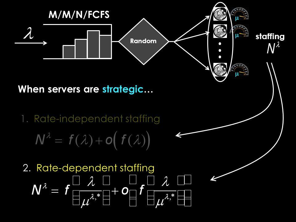 M/M/N/FCFS  Random  When servers are strategic… 1.