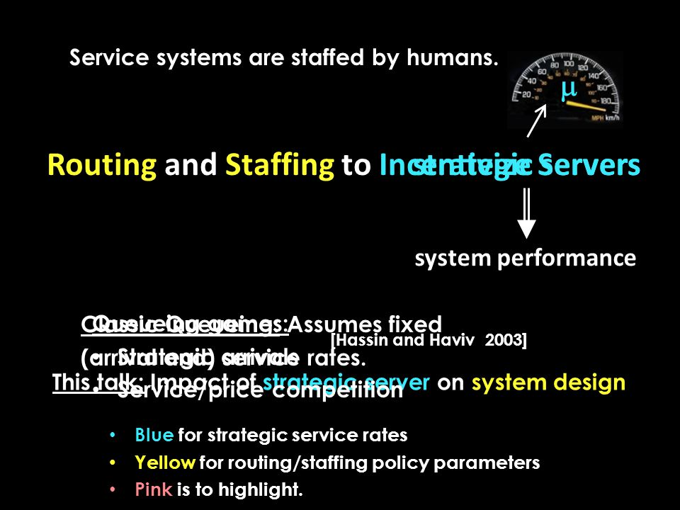 strategic servers system performance This talk: Impact of strategic server on system design  Classic Queueing: Assumes fixed (arrival and) service rates.