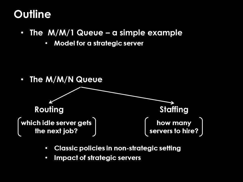 M/M/N/FCFS When servers are strategic… Random staffing Q: How many servers to staff.