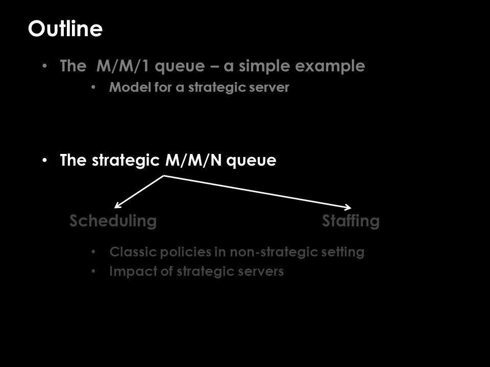 Outline The M/M/1 queue – a simple example Model for a strategic server The strategic M/M/N queue Classic policies in non-strategic setting Impact of strategic servers SchedulingStaffing