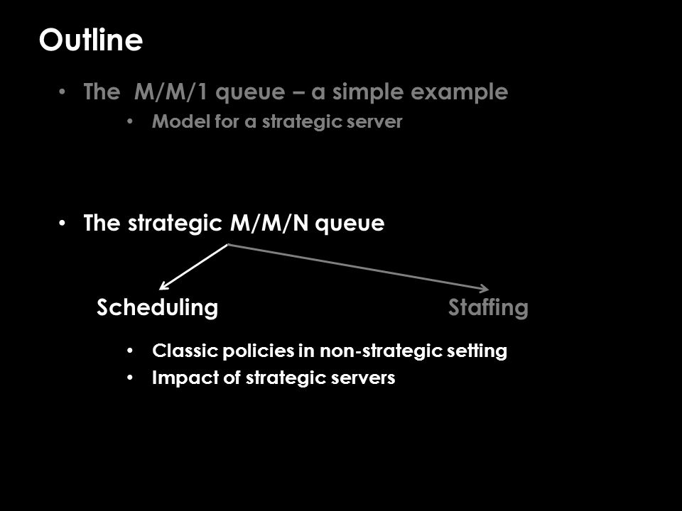 M/M/N/FCFS scheduling    When servers are not strategic… Fastest-Server-First (FSF) is asymptotically optimal for.