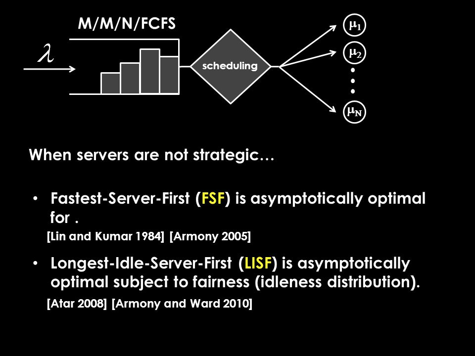 Concluding remarks We need to rethink optimal system design to account for how servers respond to incentives (i.e., when servers are strategic).