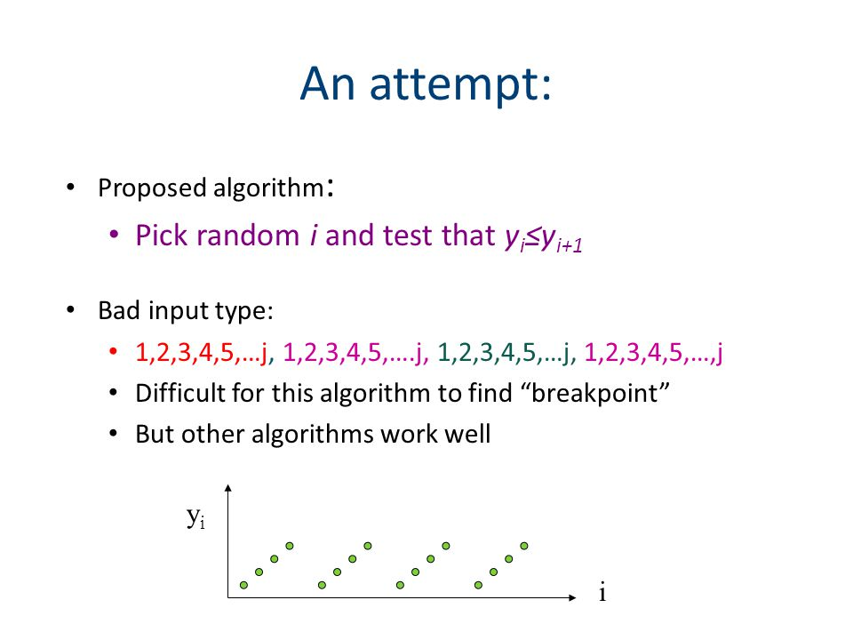 An attempt: Proposed algorithm : Pick random i and test that y i ≤y i+1 Bad input type: 1,2,3,4,5,…j, 1,2,3,4,5,….j, 1,2,3,4,5,…j, 1,2,3,4,5,…,j Difficult for this algorithm to find breakpoint But other algorithms work well i yiyi