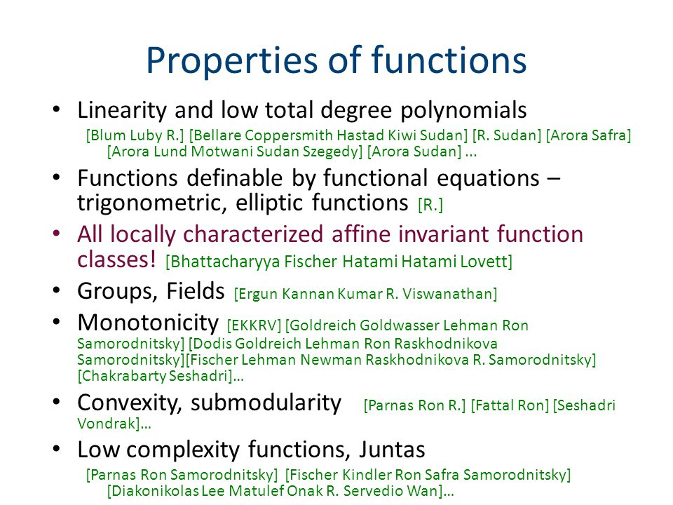 Properties of functions Linearity and low total degree polynomials [Blum Luby R.] [Bellare Coppersmith Hastad Kiwi Sudan] [R.