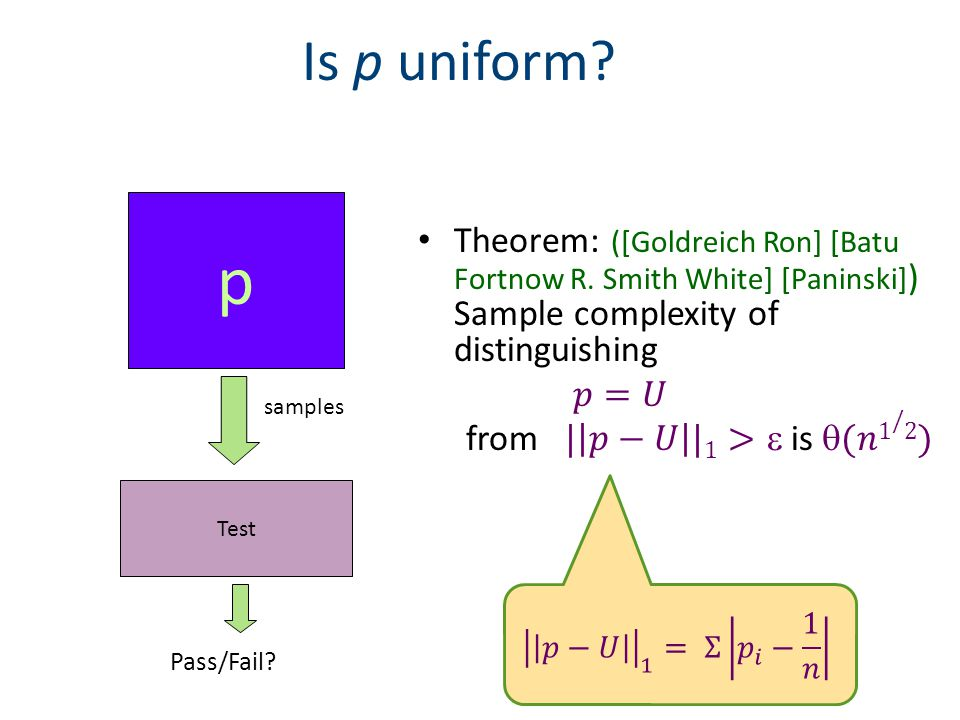 Is p uniform p Test samples Pass/Fail