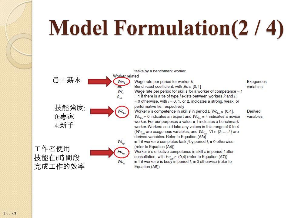 Model Formulation(2 / 4) 員工薪水 技能強度 : 0 : 專家 4 : 新手 工作者使用 技能在 t 時間段 完成工作的效率 15 / 33