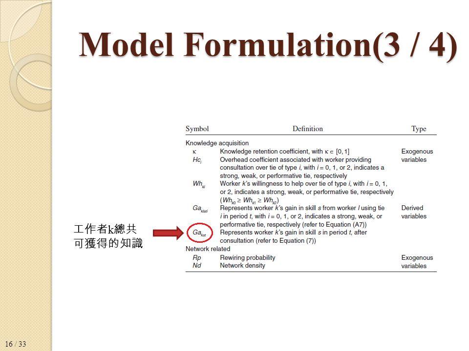 Model Formulation(3 / 4) 工作者 k 總共 可獲得的知識 16 / 33