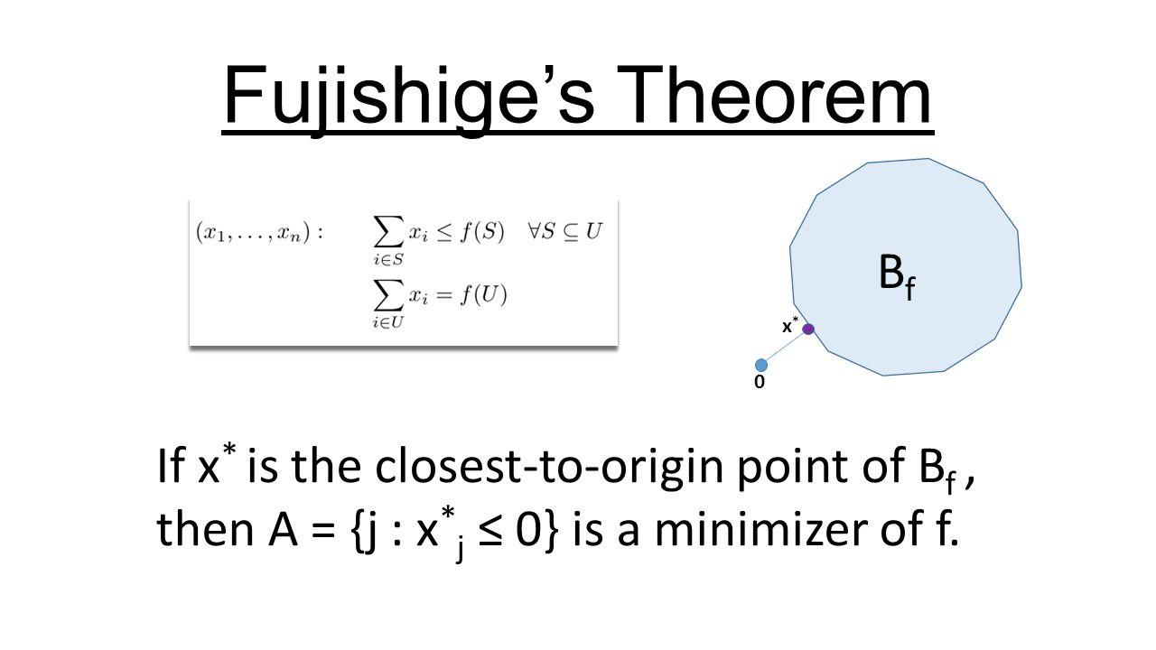 If x * is the closest-to-origin point of B f, then A = {j : x * j ≤ 0} is a minimizer of f. Fujishige's Theorem BfBf x*x* 0