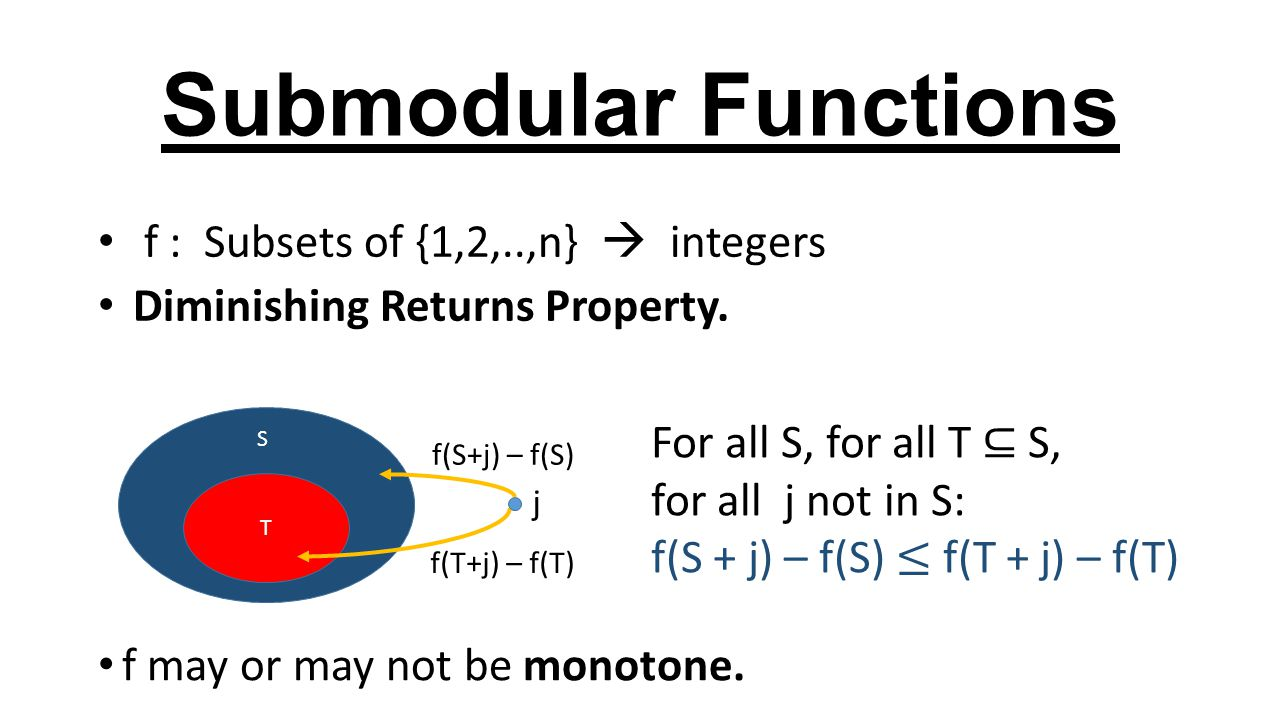 Submodular Functions f : Subsets of {1,2,..,n}  integers Diminishing Returns Property.