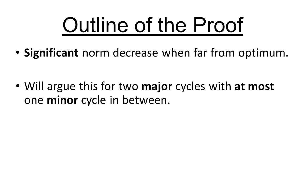 Outline of the Proof Significant norm decrease when far from optimum.