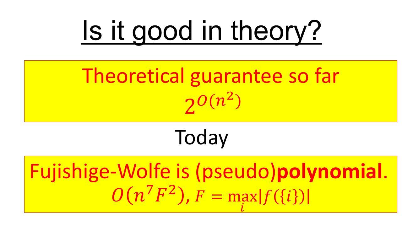 Take away points.Analysis of Wolfe's algorithm, a practical algorithm.