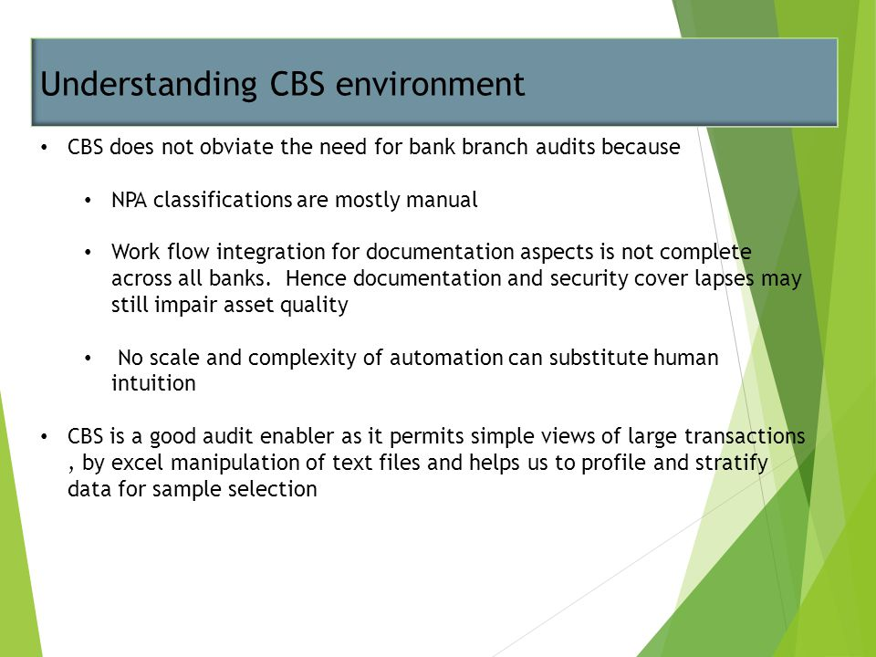 Understanding CBS environment CBS does not obviate the need for bank branch audits because NPA classifications are mostly manual Work flow integration