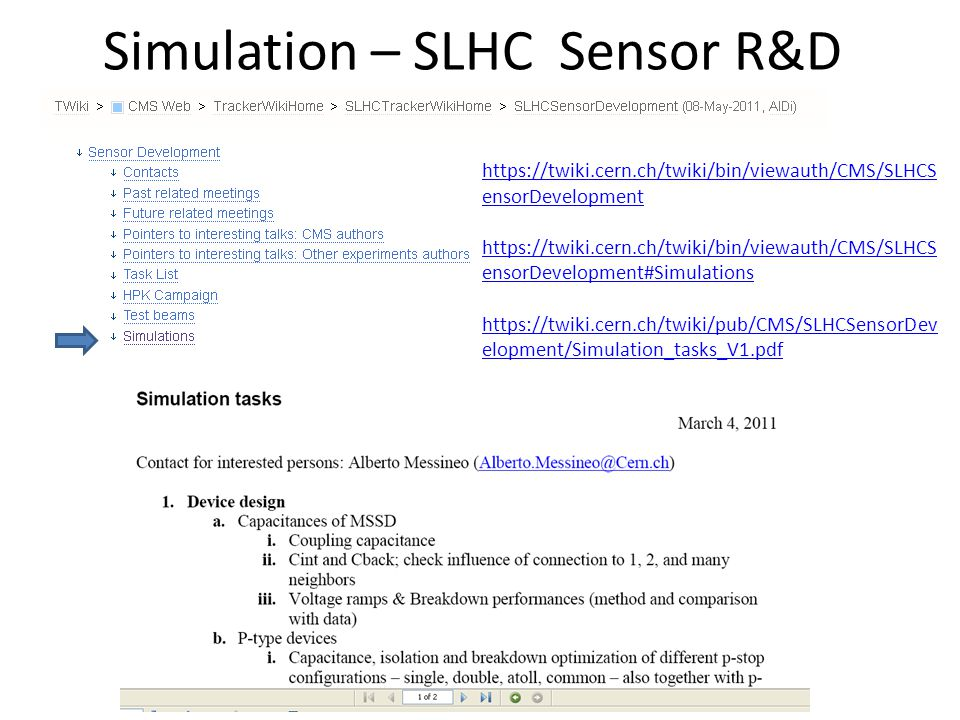 Simulation – SLHC Sensor R&D https://twiki.cern.ch/twiki/bin/viewauth/CMS/SLHCS ensorDevelopment https://twiki.cern.ch/twiki/bin/viewauth/CMS/SLHCS ensorDevelopment#Simulations https://twiki.cern.ch/twiki/pub/CMS/SLHCSensorDev elopment/Simulation_tasks_V1.pdf