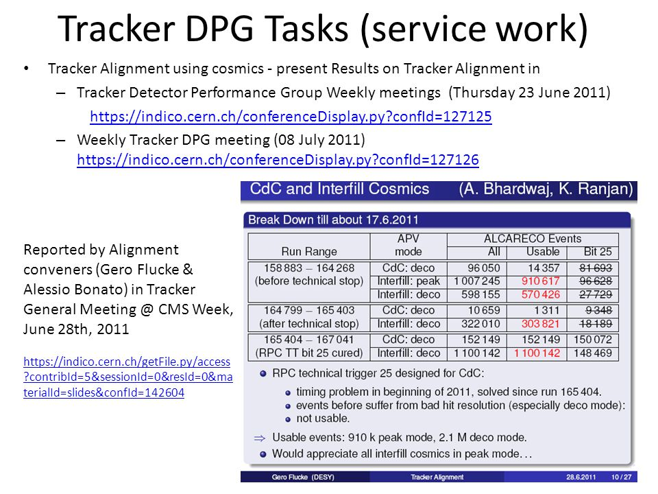 Tracker DPG Tasks (service work) Tracker Alignment using cosmics - present Results on Tracker Alignment in – Tracker Detector Performance Group Weekly meetings (Thursday 23 June 2011) https://indico.cern.ch/conferenceDisplay.py confId=127125 – Weekly Tracker DPG meeting (08 July 2011) https://indico.cern.ch/conferenceDisplay.py confId=127126 https://indico.cern.ch/conferenceDisplay.py confId=127126 Reported by Alignment conveners (Gero Flucke & Alessio Bonato) in Tracker General Meeting @ CMS Week, June 28th, 2011 https://indico.cern.ch/getFile.py/access contribId=5&sessionId=0&resId=0&ma terialId=slides&confId=142604 https://indico.cern.ch/getFile.py/access contribId=5&sessionId=0&resId=0&ma terialId=slides&confId=142604