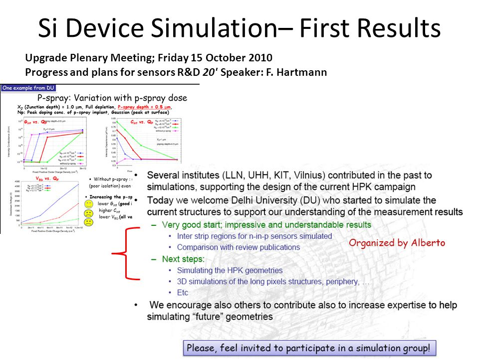 Si Device Simulation– First Results Upgrade Plenary Meeting; Friday 15 October 2010 Progress and plans for sensors R&D 20 Speaker: F.