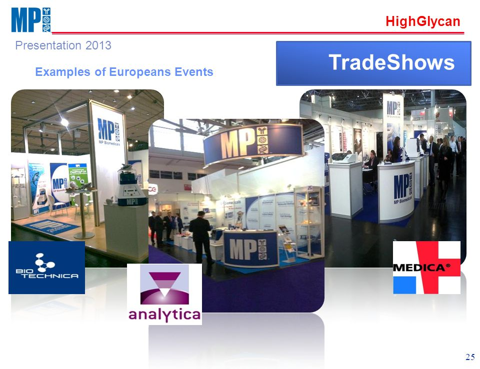 HighGlycan Presentation 2013 25 TradeShows Examples of Europeans Events