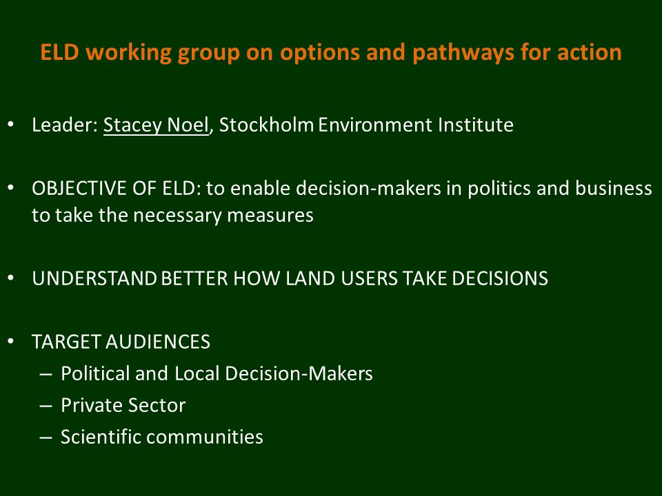 ELD working group on options and pathways for action Leader: Stacey Noel, Stockholm Environment Institute OBJECTIVE OF ELD: to enable decision-makers in politics and business to take the necessary measures UNDERSTAND BETTER HOW LAND USERS TAKE DECISIONS TARGET AUDIENCES – Political and Local Decision-Makers – Private Sector – Scientific communities