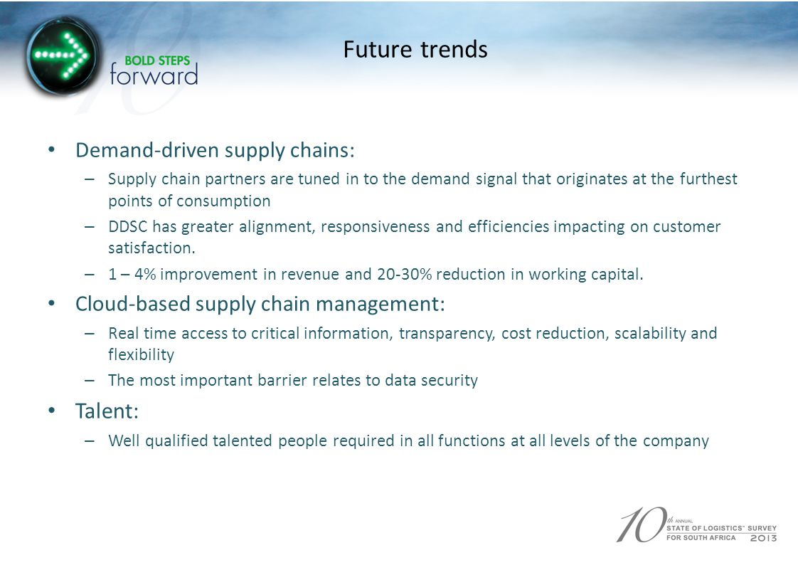 Future trends Demand-driven supply chains: – Supply chain partners are tuned in to the demand signal that originates at the furthest points of consumption – DDSC has greater alignment, responsiveness and efficiencies impacting on customer satisfaction.