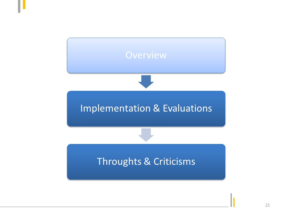 OverviewImplementation & EvaluationsThroughts & Criticisms 25