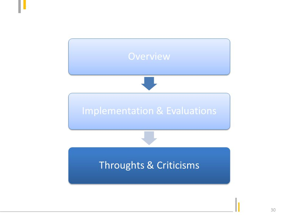 OverviewImplementation & EvaluationsThroughts & Criticisms 30