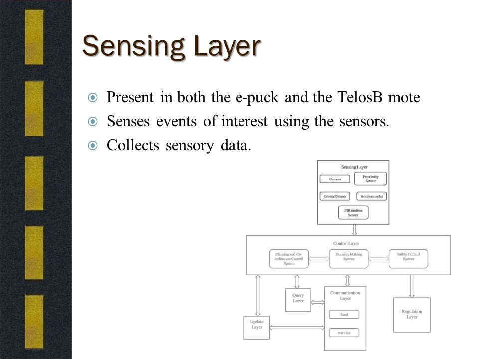Sensing Layer  Present in both the e-puck and the TelosB mote  Senses events of interest using the sensors.
