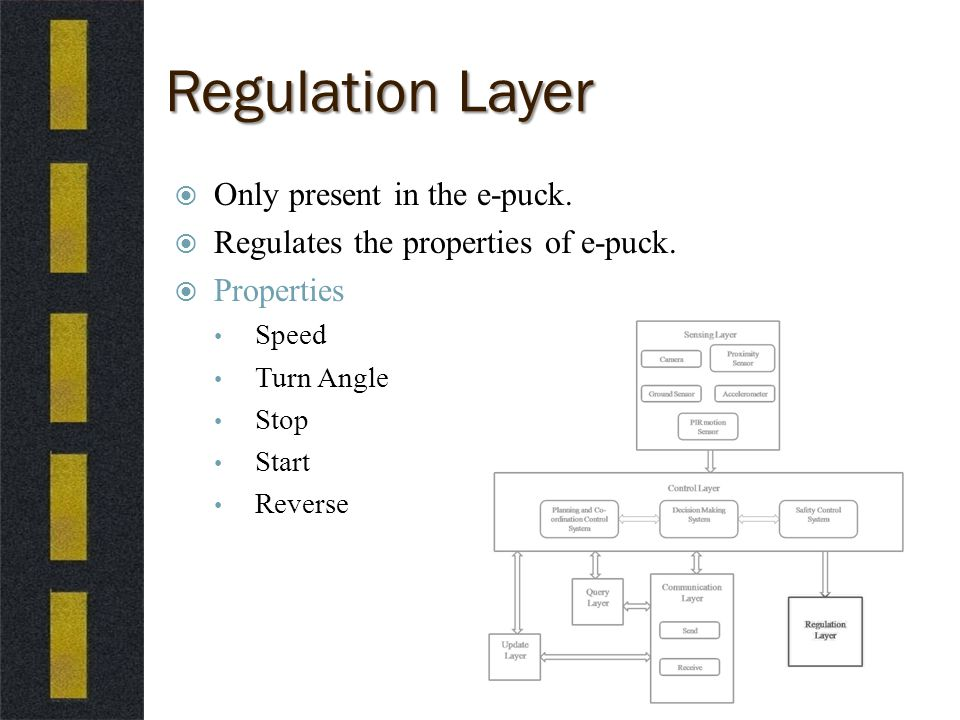 Regulation Layer  Only present in the e-puck.  Regulates the properties of e-puck.
