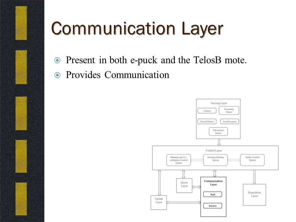 Communication Layer  Present in both e-puck and the TelosB mote.  Provides Communication
