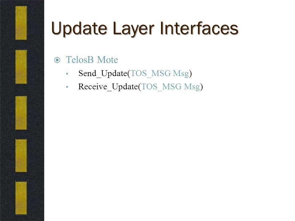Update Layer Interfaces  TelosB Mote Send_Update(TOS_MSG Msg) Receive_Update(TOS_MSG Msg)