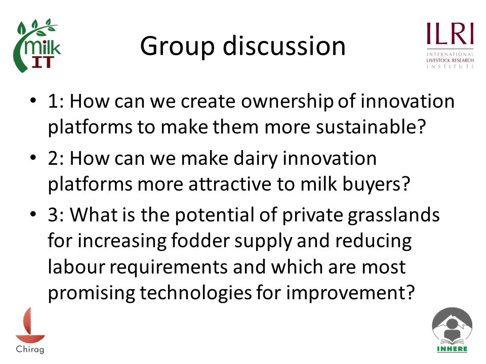 Group discussion 1: How can we create ownership of innovation platforms to make them more sustainable.