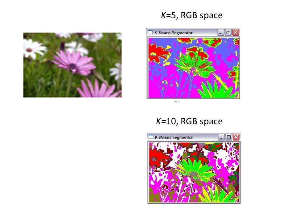 K=5, RGB space K=10, RGB space