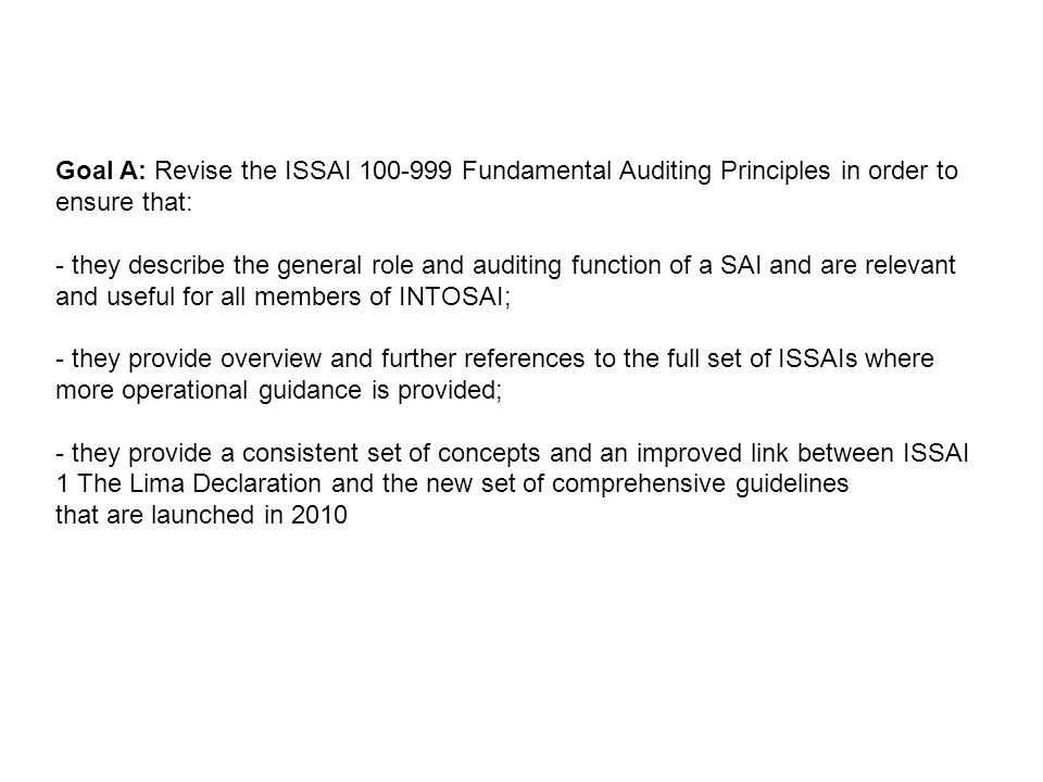 ISSAI 100 - Fundamental Principles of Public Sector Auditing ISSAI 200 - Fundamental Principles of Financial Auditing ISSAI 300 - Fundamental Principles of Performance Auditing ISSAI 400 - Fundamental Principles of Compliance Audit