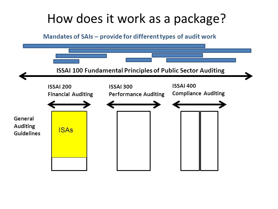 References to the ISSAIs Option 1: We conducted our audit in accordance with [national standards] based on (or consistent with) the Fundamental Auditing Principles (ISSAI 100- 999) of the International Standards of Supreme Audit Institutions.