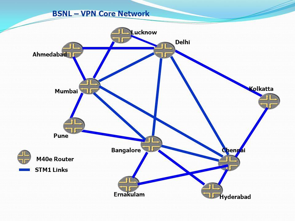 BSNL – VPN Core Network STM1 Links M40e Router Chennai Kolkatta Mumbai Pune Ernakulam Delhi Hyderabad Lucknow Ahmedabad Bangalore